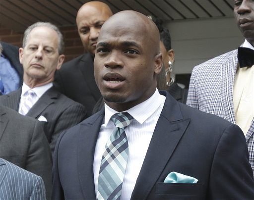 Pat Sullivan/AP file photoVikings running back Adrian Peterson was suspended for the rest of the season by the NFL on Tuesday. Peterson and the NFL Players Association have disputed the NFL's discipline process following Peterson's violation of the league's personal conduct policy.