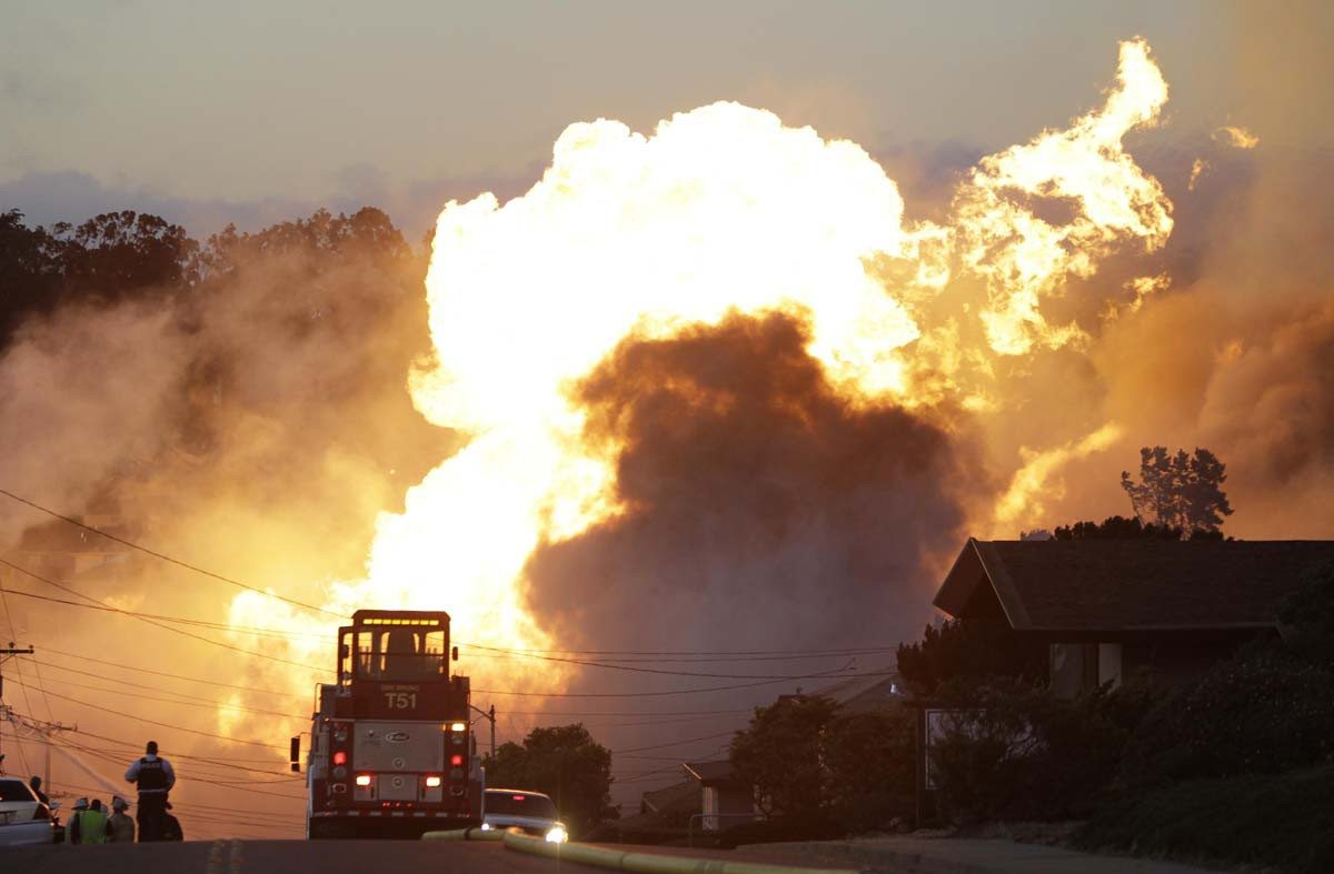 Paul Sakuma/2010 AP file photoA massive fire caused by a gas pipeline rupture roars through a mostly residential neighborhood in San Bruno on Sept. 9