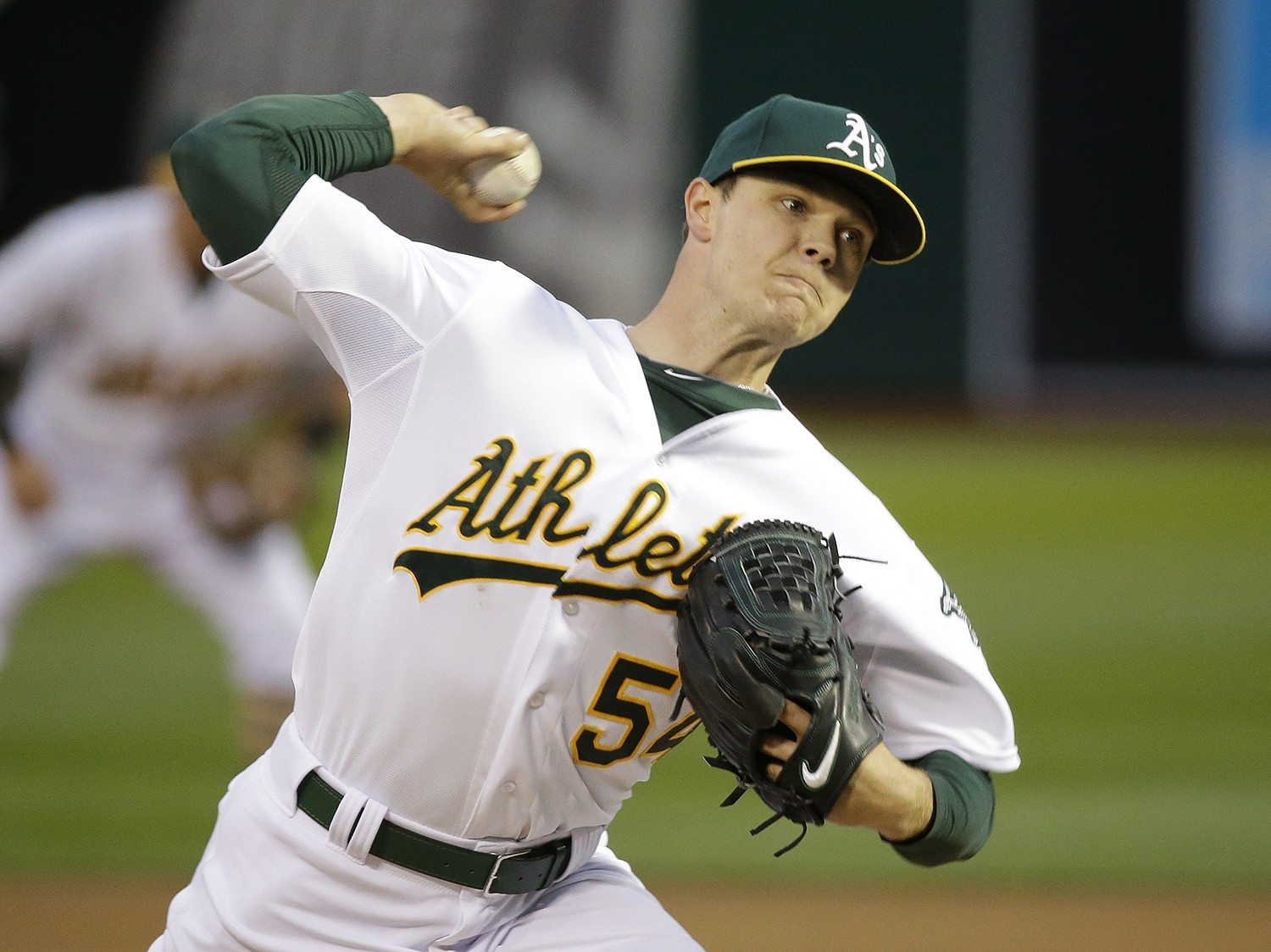 Eric Risberg/APA's pitcher Sonny Gray took a no-hitter into the eighth inning against the Rangers in the season opener on Monday.