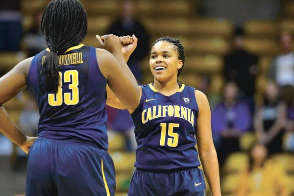 Ron Chenoy/USA TODAY SportsCal's Brittany Boyd and Talia Caldwell celebrate after hanging on for a big road victory against No. 20 Colorado on Sunday.
