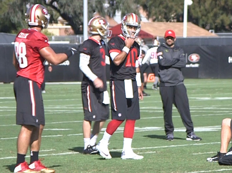 Jimmy Garoppolo took his first reps in practice on Wednesday in Santa Clara. Even if he doesn't end up being the 49ers quarterback of the future, he's a worthy investment. (Courtesy Sam Hustis/KNBR)