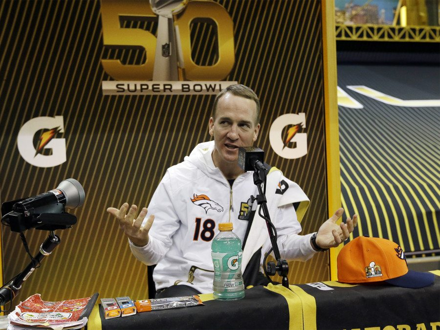 Peyton Manning answers questions during Opening Night for Super Bowl 50 on Monday, Feb. 1, 2016, in San Jose. (David J. Phillip/AP)