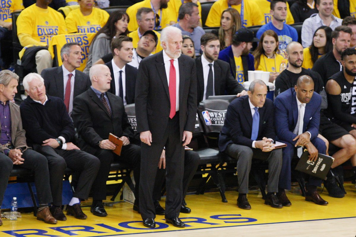 Gregg Popovich was disappointed in the San Antonio Spurs' ability to bounce back without Kawhi Leonard. If they can't reverse that quickly, the Golden State Warriors will have plenty of downtime before the NBA Finals. (Emma Marie Chiang/Special to S.F. Examiner)