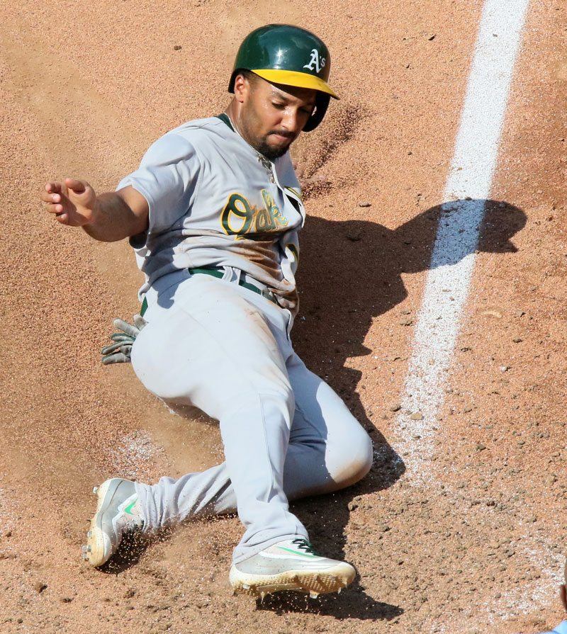Marcus Semien, seen here on Aug. 28, was a lone bright spot for the Oakland Athletics' lineup on Tuesday. (Chris Lee/St. Louis Post-Dispatch/TNS)