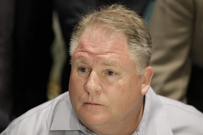 San Francisco 49ers football head coach Chip Kelly listens to a question from a member of the media at the NFL owners meeting in Boca Raton, Fla., Wednesday. (Luis M. Alvarez/AP)