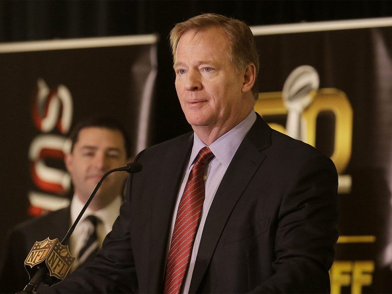 NFL Commissioner Roger Goodell speaks at a news conference in San Francisco in early February. (Jeff Chiu/AP)