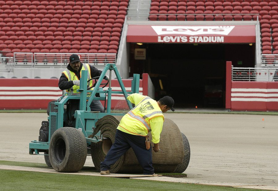 Workers install sod on the field at Levi's Stadium on Jan. 11 in preparation for Super Bowl 50 in Santa Clara. (Jeff Chiu/AP)