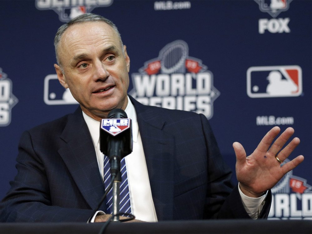 MLB Commissioner Rob Manfred talks during World Series media day on Monday, Oct. 26, 2015, in Kansas City, Mo. (David J. Phillip/AP)