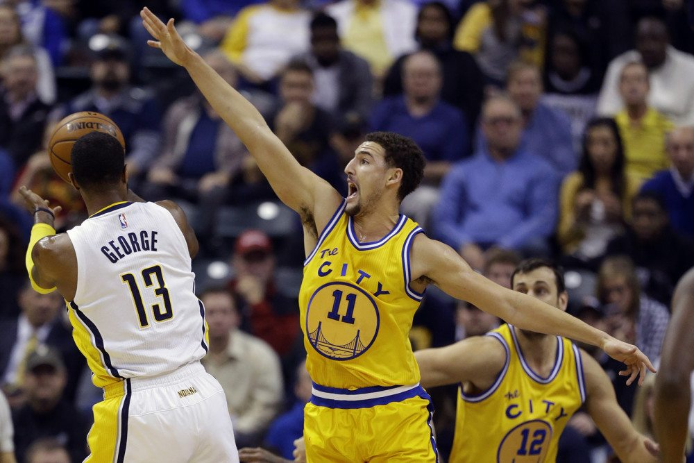 Klay Thompson had a monstrous game against the Pacers on Tuesday, scoring 39 points in 34 minutes before leaving the game with an ankle injury. (Michael Conroy/AP)