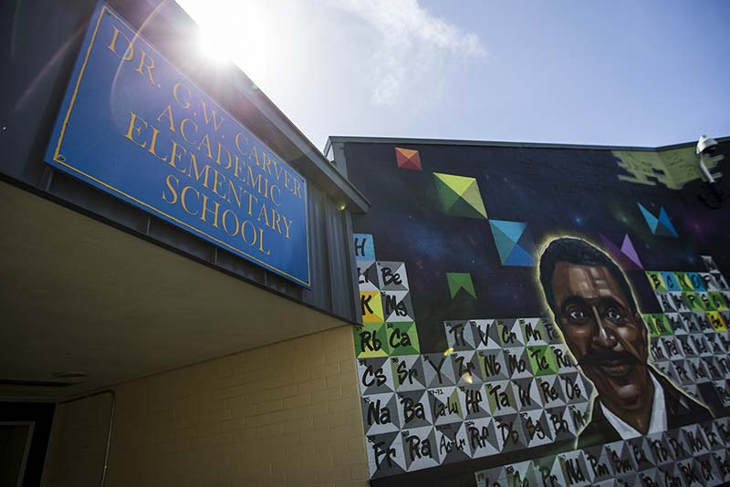 George Washington Carver Elementary School is on track for a remodel of classrooms after parents expressed serious concerns about the safety of the building. (Jessica Christian/S.F. Examiner)