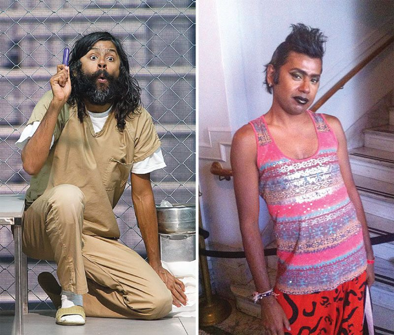 "Left: J. Jha portrays the character Looney Tunes in ""The Box."" Right: Jha prepares to walk the ramp for a fashion show. (Left: Courtesy Todd Sanchioni; Right: Courtesy photo)"