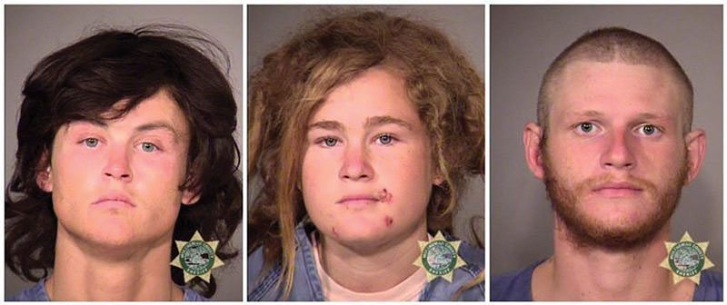 From left, Sean Michael Angold, 25, Lila Scott Alligood, 19, and Morrison Haze Lampley, 24. (Courtesy Portland Police Bureau)