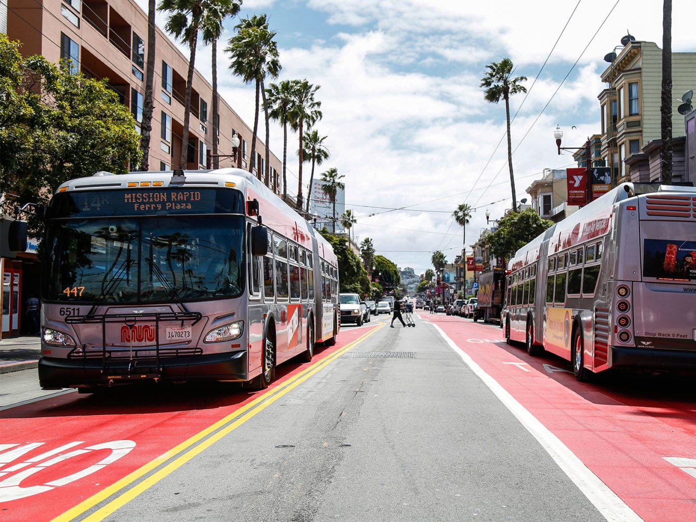 The SFMTA plans to replicate its red transit-only lanes, which currently exist in the Mission (pictured), on 50 streets across The City, including West Portal Avenue. (Emma Chiang/2016 Special to S.F. Examiner)