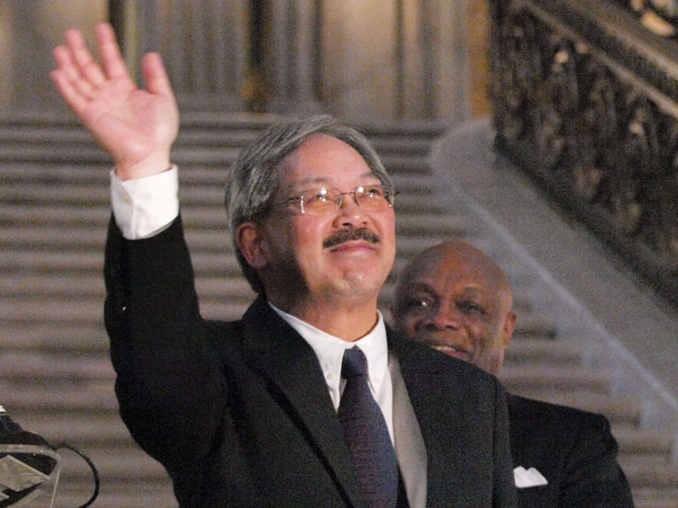 Mayor Ed Lee waves as he's sworn into office on Jan. 12, 2011. (Mike Koozmin/2011 S.F. Examiner)