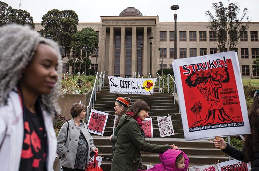 City College of San Francisco supporters and staff held a one-day strike in April over — what they say are — unfair labor practices.  (Jessica Christian/S.F. Examiner file photo)