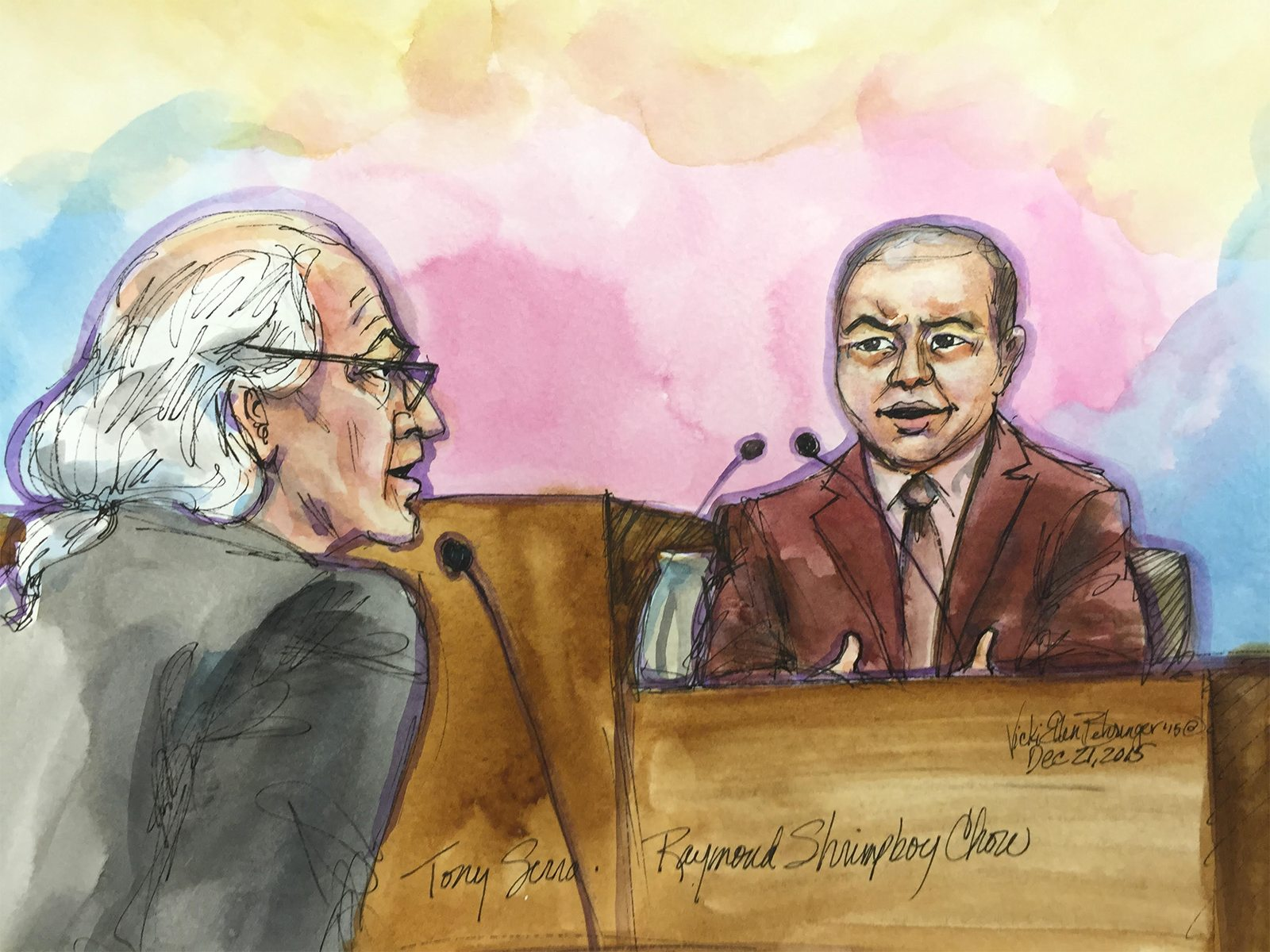 "An artist's rendering depicts defendant Raymond ""Shrimp Boy"" Chow, right, answering questions from his attorney, Tony Serra, in U.S. District Court in San Francisco on Monday, Dec. 21, 2015. (Vicki Behringer/Special to S.F. Examiner)"