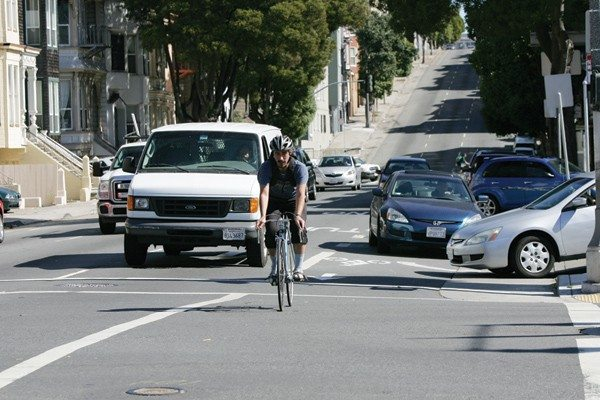 Mike Koozmin/The S.F. ExaminerGearing up: A $1.26 million project is set to bring new separated bike lanes and traffic calming measures to Oak and Fell streets.