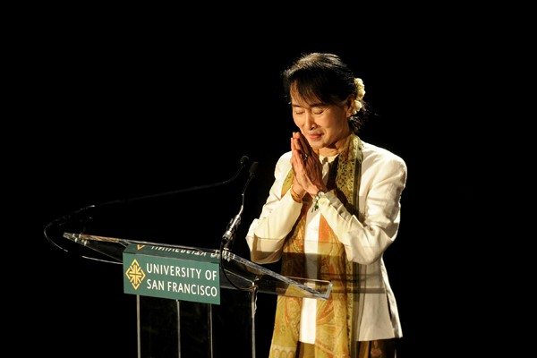 Noah Berger/APNobel Peace Laureate and Myanmar opposition leader Aung San Suu Kyi greets San Francisco's Burmese community during a talk at the University of San Francisco.