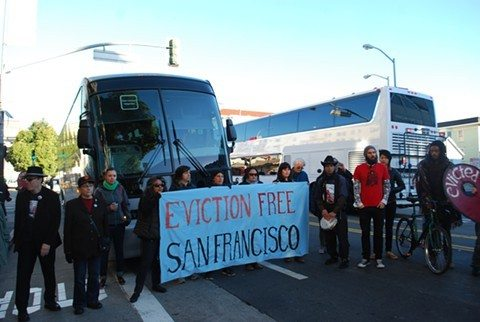 CHRIS ROBERTS/2013 S.F. EXAMINER FILE PHOTOProtesters blocked an Apple shuttle bus in the Mission district on December 20