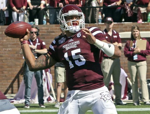 Jim Lytle/AP file photoDak Prescott and Mississippi State moved up to No. 3 in the AP poll Sunday after beating Texas A&M on Saturday.