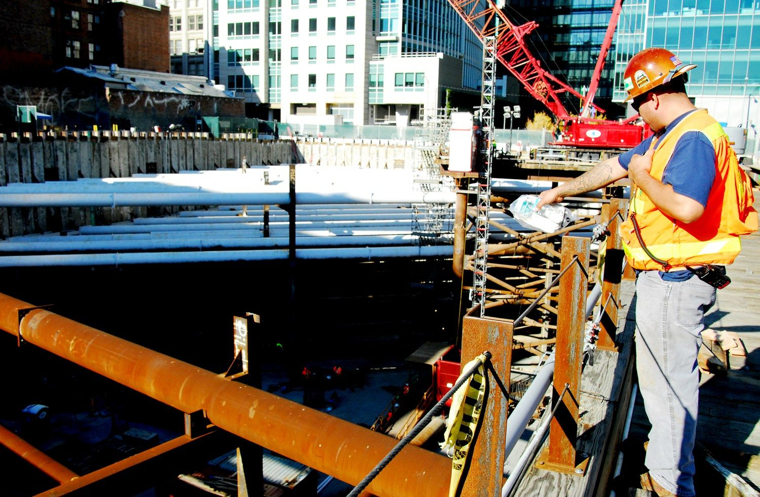 EVAN DUCHARME/SPECIAL TO THE  S.F. EXAMINERWork continues Wednesday at the Transbay Transit Center site downtown.