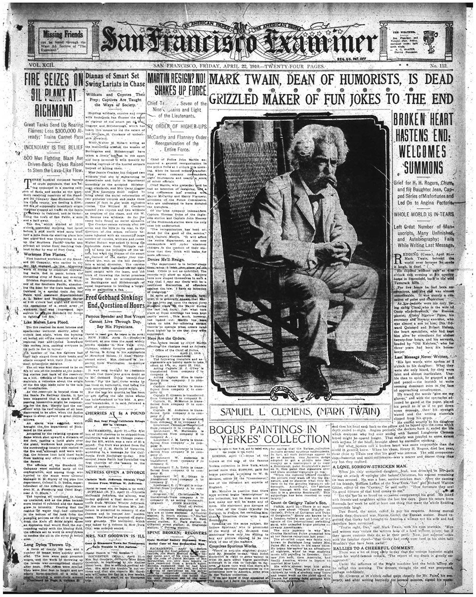 Mark Twain's death was announced on the front page of the April 22