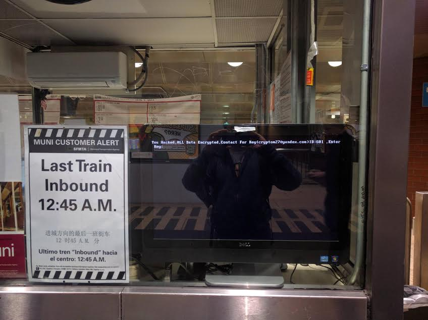"An electronic message reading ""You Hacked"" was displayed on Muni computers Saturday. (Courtesy photo)"