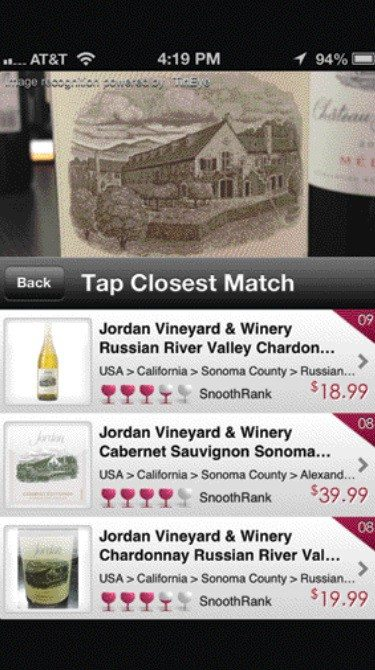 Courtesy photoIPhone app Snooth allows users to both rate and locate wine in the surrounding area.