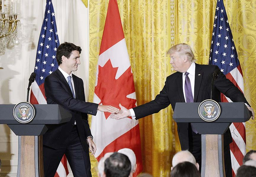 U.S. President Donald Trump and Canadian Prime Minister Justin Trudeau participate in a joint news conference in the East Room of the White House on Feb. 13, 2017, in Washington, D.C. (Olivier Douliery/Abaca Press/TNS)