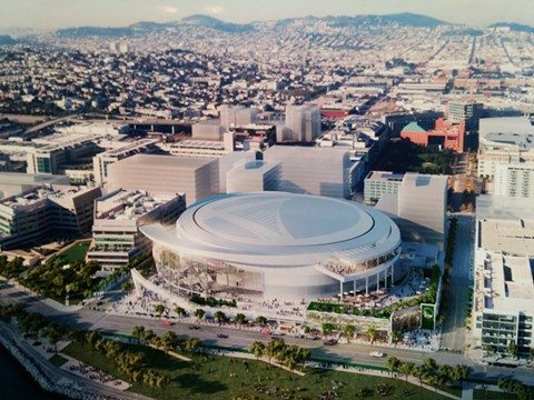 The Warriors have proposed an arena at an 11-acre site in Mission Bay. (Courtesy rendering)