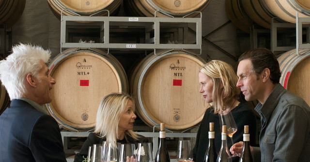 Lioco co-owners Matt and Sara Licklider (right) sharing wine with friends. (Courtesy photo)