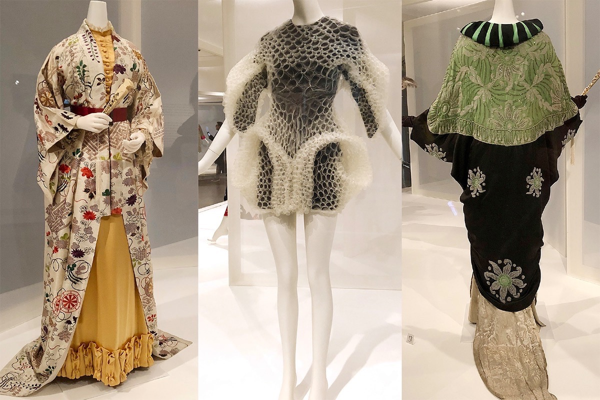 "Era-spanning looks in the Asian Art Museum exhibition  ""Kimono Refashioned"" from the Kyoto Costume Institute include (from left): a silk and satin damask dress from London (circa 1875); Dutch designer Iris van Herpen's 2016 mono-filament organza dress; and a 1913 silk satin and crepe beaded evening coat from Paris' House of Amy Linker. (Courtesy Ming Vong/S.F. Examiner)"