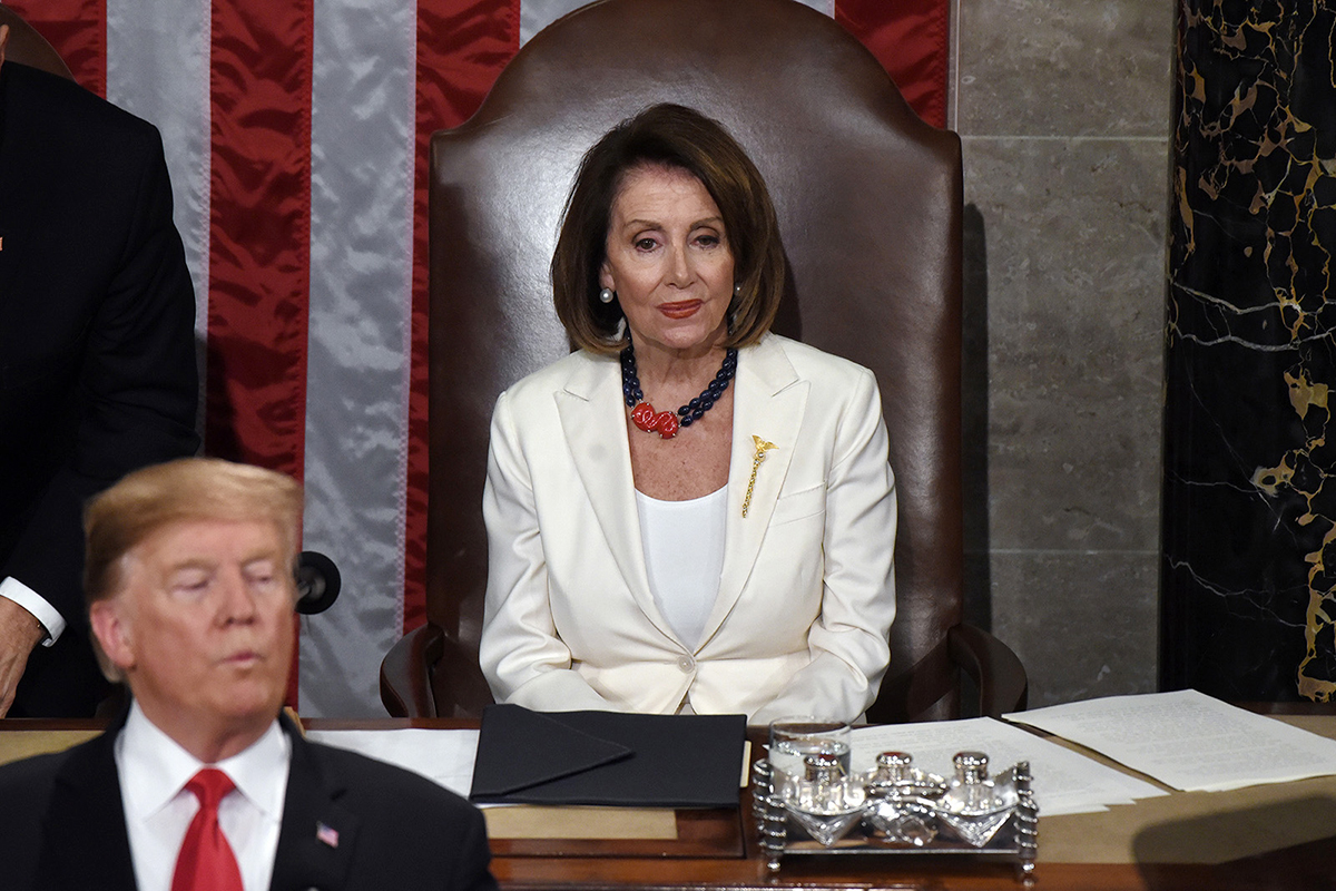 House Speaker Nancy Pelosi listens to President Donald Trump during the State of the Union address to a joint session of the Congress on Capitol Hill in Washington, D.C., on Tuesday, Feb. 5, 2019. (Olivier Douliery/Abaca Press/TNS)