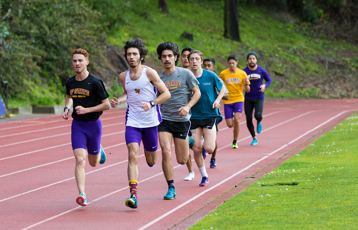 The San Francisco State men's track team practices on Feb. 27, 2019, at San Francisco State. (Christine Jacobson / SF State Athletics)