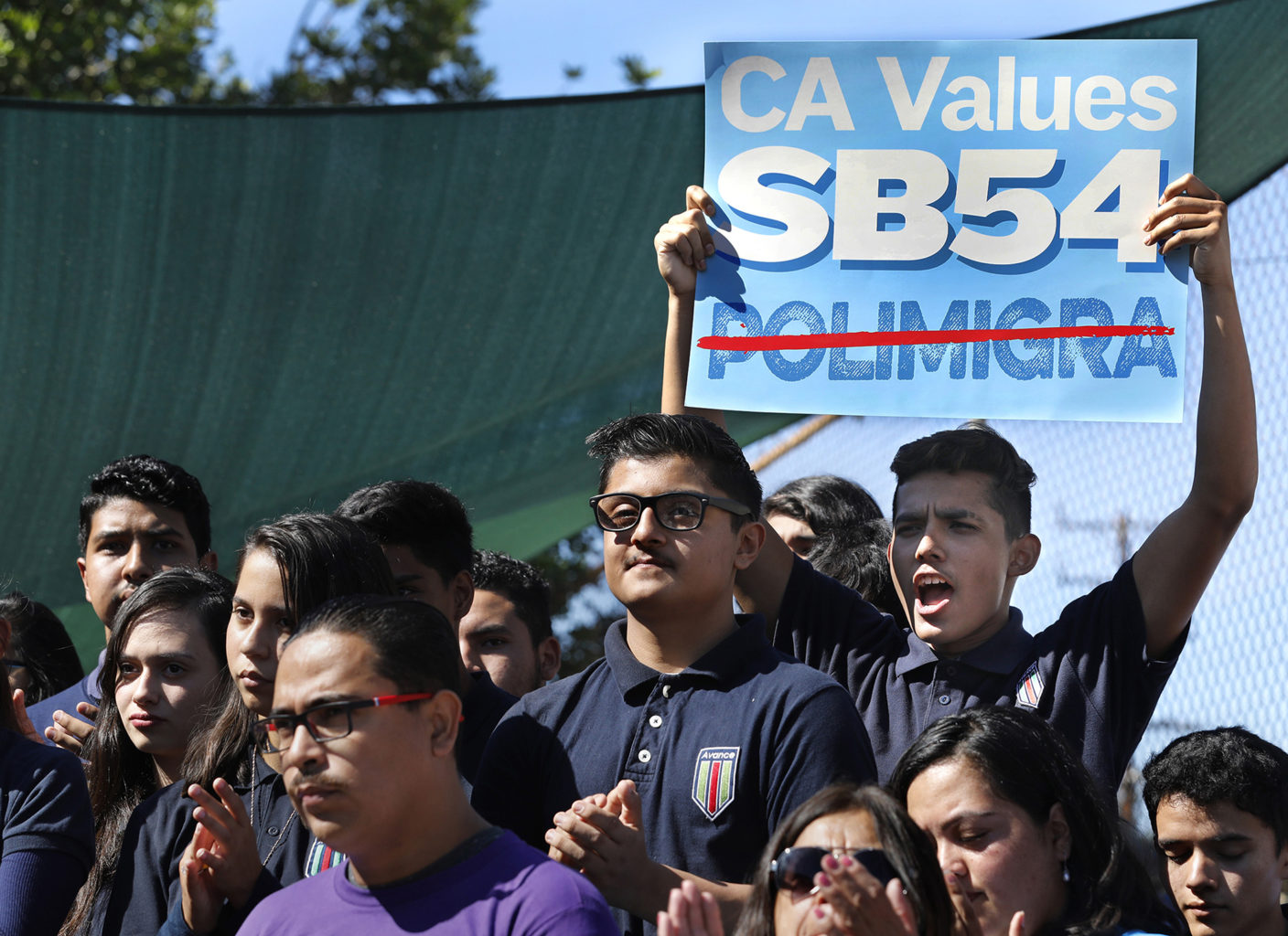 Students at a 2017 rally in Los Angeles in support of SB 54, the so-called sanctuary state measure, in October 2017. The Trump administration sued California in March 2018 to invalidate three sanctuary laws. (Mel Melcon/Los Angeles Times/TNS)