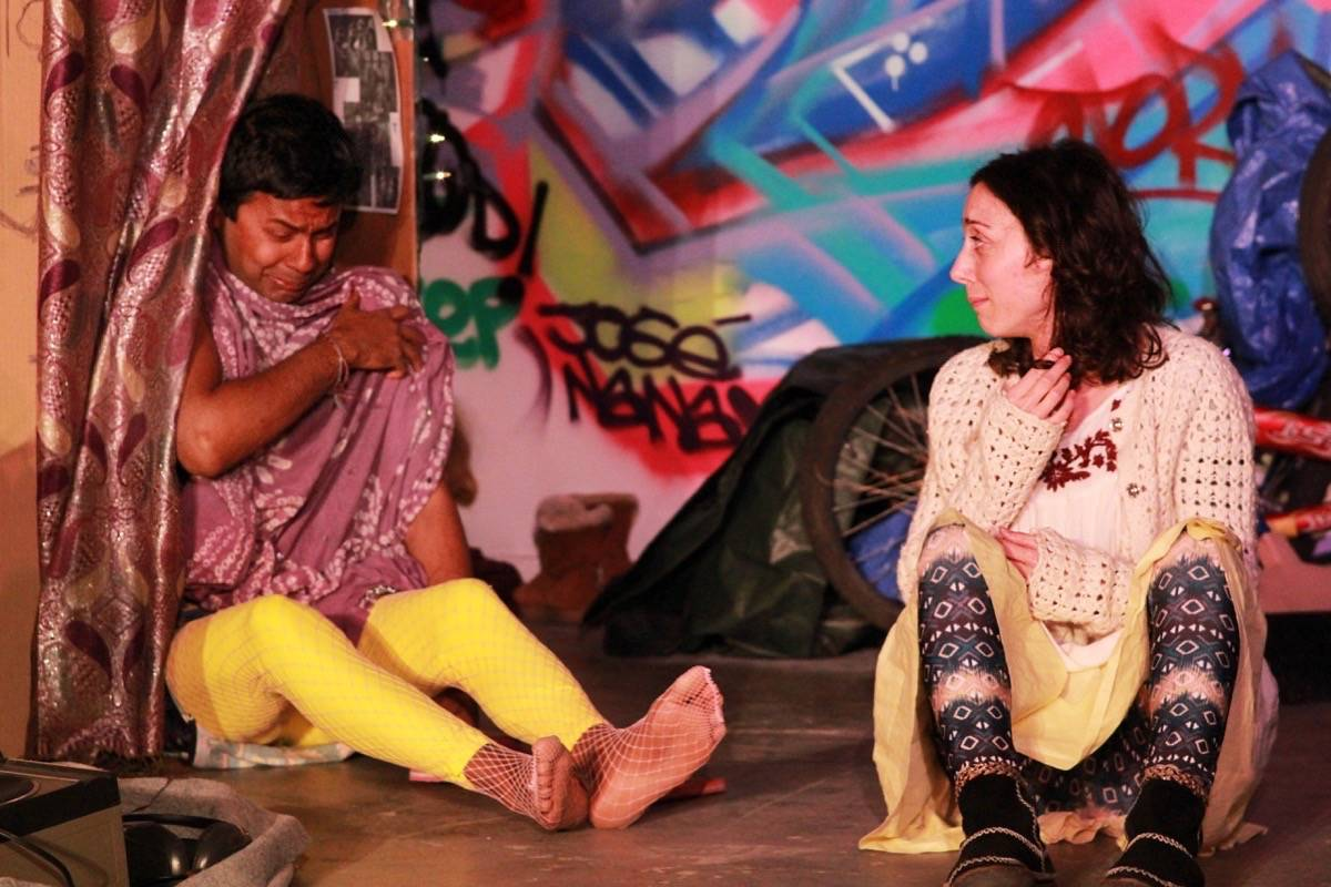 "From left, J Jha and Margherita Ventura appear in Ubuntu Theater Project's ""Down Here Below."" (Courtesy Jose Manuel Moctezuma)"