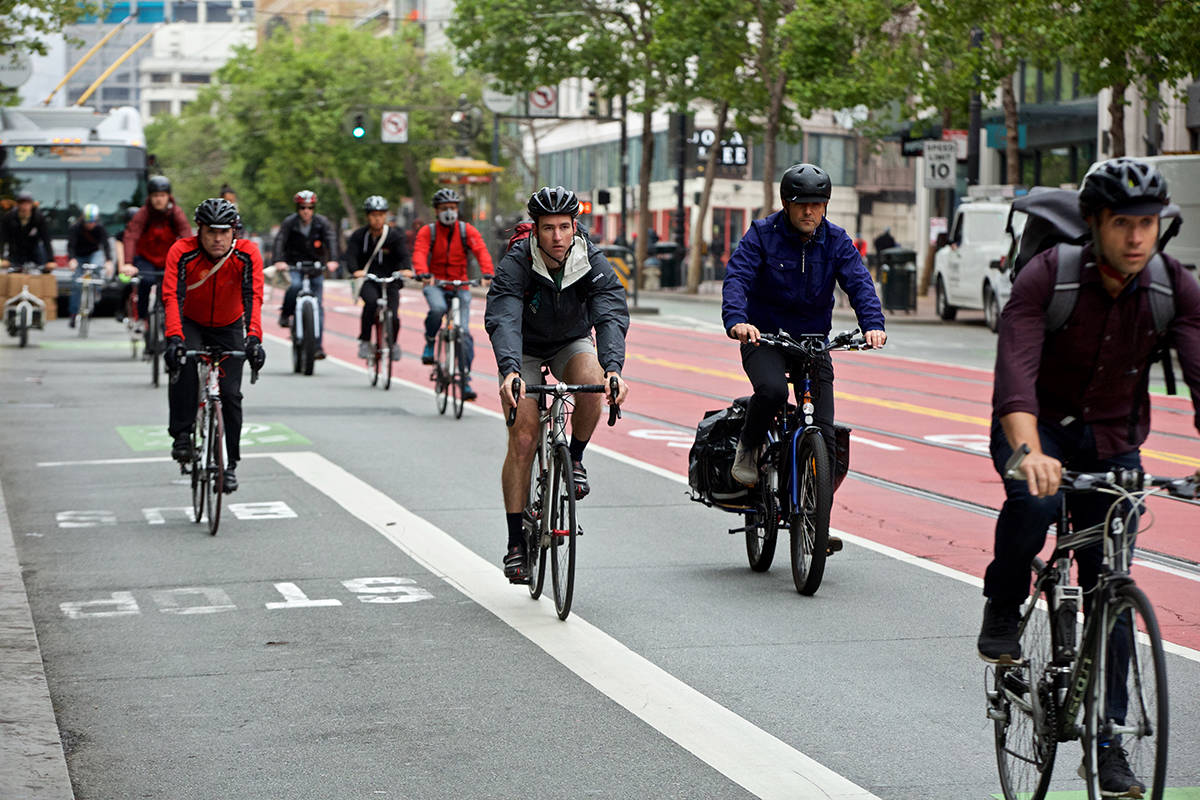 Cyclists ride along Market Street on Bike To Work Day on Thursday, May 9, 2019. (Kevin N. Hume/S.F. Examiner)