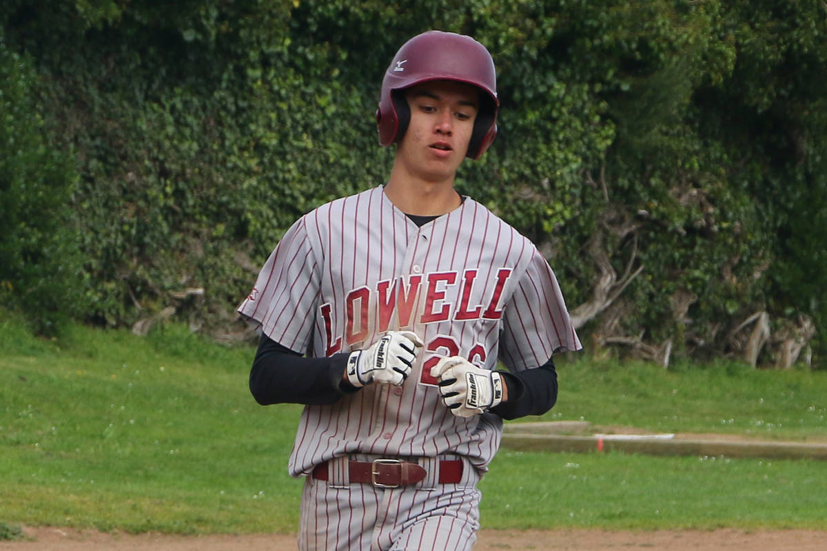Lowell's Jack Schonherr scores a run against Balboa in a game on March 18, 2019 at Balboa Park. (Ryan Gorcey / S.F.Examiner)