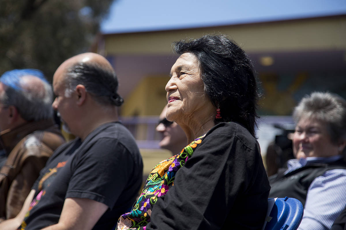 Civil rights activist and labor leader Dolores Huerta smiles while listening to a speaker as the San Francisco Unified School District honored her by renaming Fairmount Elementary to Dolores Huerta Elementary School at a ceremony at the school on Friday, May 17, 2019. (Ellie Doyen/Special to S.F. Examiner)