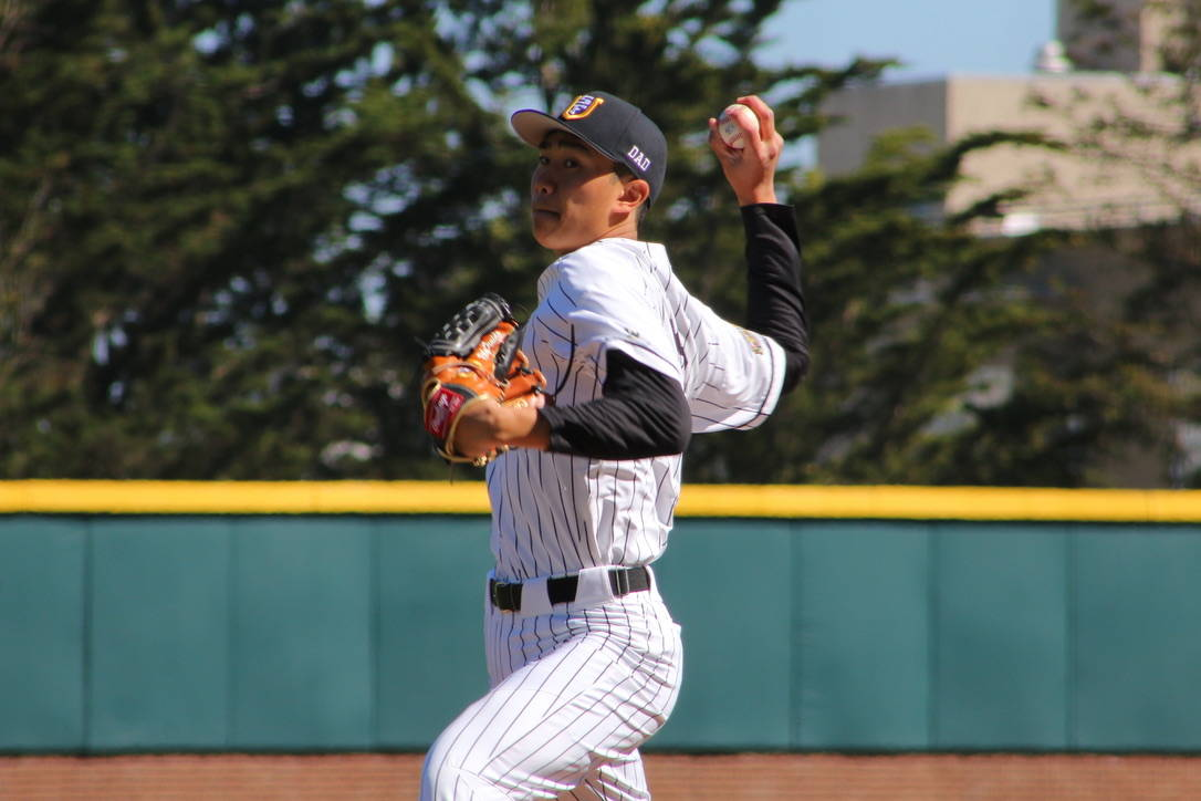 University of San Francisco pitcher Riley Ornido delivers a pitch in the first inning against Portland on March 15, 2019. (Ryan Gorcey / S.F. Examiner)