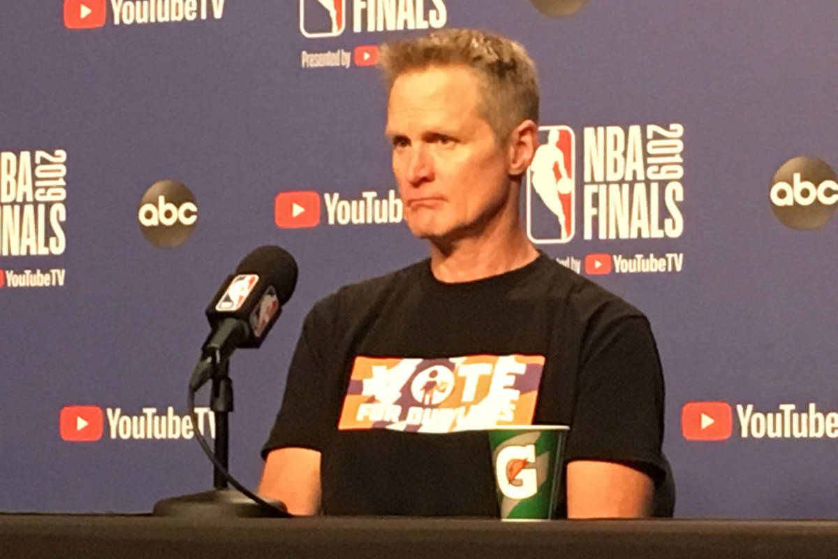 Steve Kerr addresses the media before Game 2 of the NBA Finals on June 2, 2019. (Ryan Gorcey / S.F. Examiner)