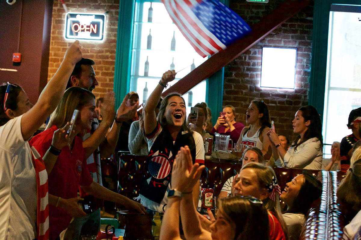 U.S. Soccer fans cheer as the U.S. Women's Soccer team defeats France 2-1 in the quarter finals of the 2019 Women's World Cup at a viewing party at Golden Gate Tap Room near Union Square on Friday, June 28, 2019. (Kevin N. Hume/S.F. Examiner)