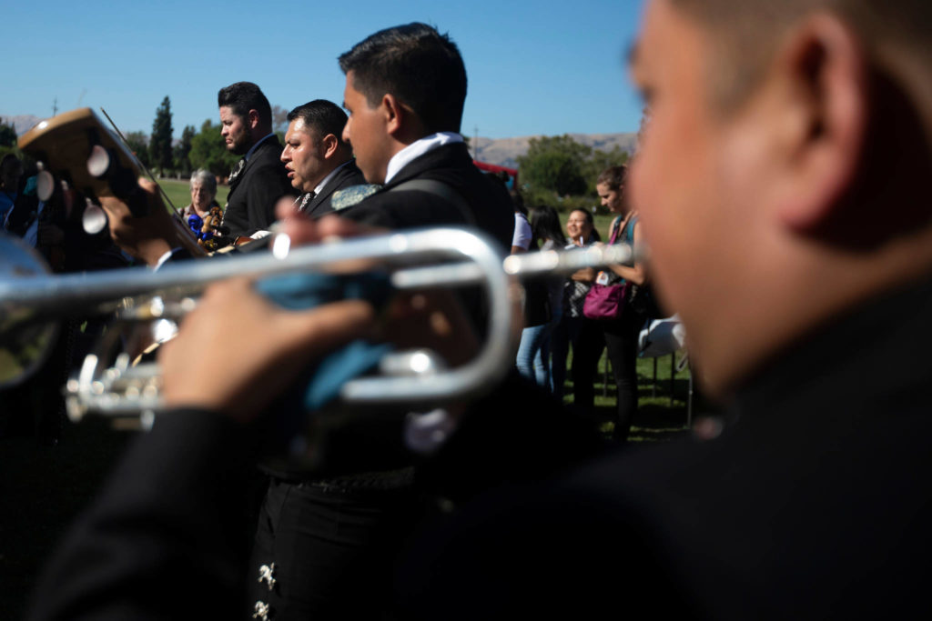 Mariachi Jalisciense play music as family and friends gathered in San Jose on August 4 honoring Keyla Keyla Salazar, a 13-year-old girl was killed in the Gilroy Garlic Festival shooting.