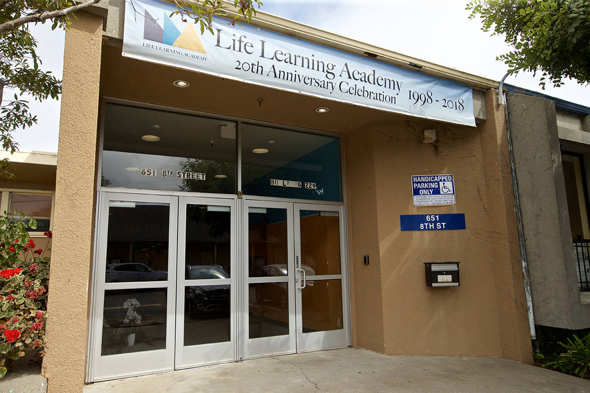 The main entrance to Life Learning Academy on Treasure Island on Wednesday, Aug. 7, 2019. (Kevin N. Hume/S.F. Examiner)