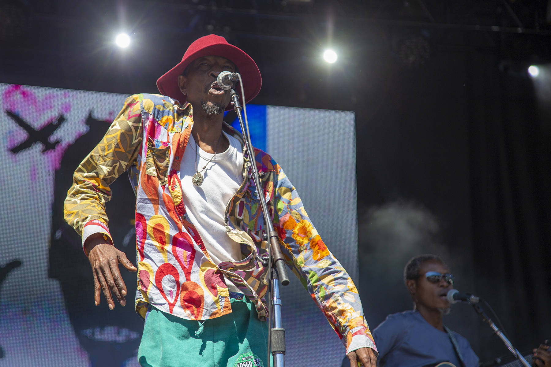 Jupiter Bokondji of Jupiter and Okwess performs at the final day of Outside Lands on Sunday, August 11, 2019. (Ellie Doyen/Special to S.F. Examiner)