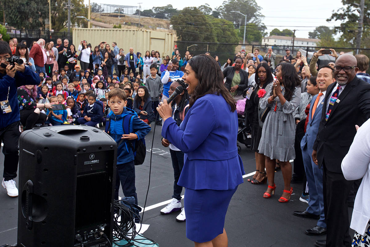Mayor London Breed welcomes students on the first day of the 2019-2020 school year at Starr King Elementary School on Monday, Aug. 19, 2019. (Kevin N. Hume/S.F. Examiner)