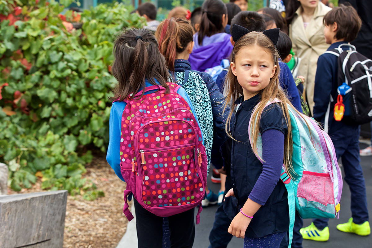 Students line up to head in to class on the first day of the 2019-2020 school year at Starr King Elementary School on Monday, Aug. 19, 2019. (Kevin N. Hume/S.F. Examiner)
