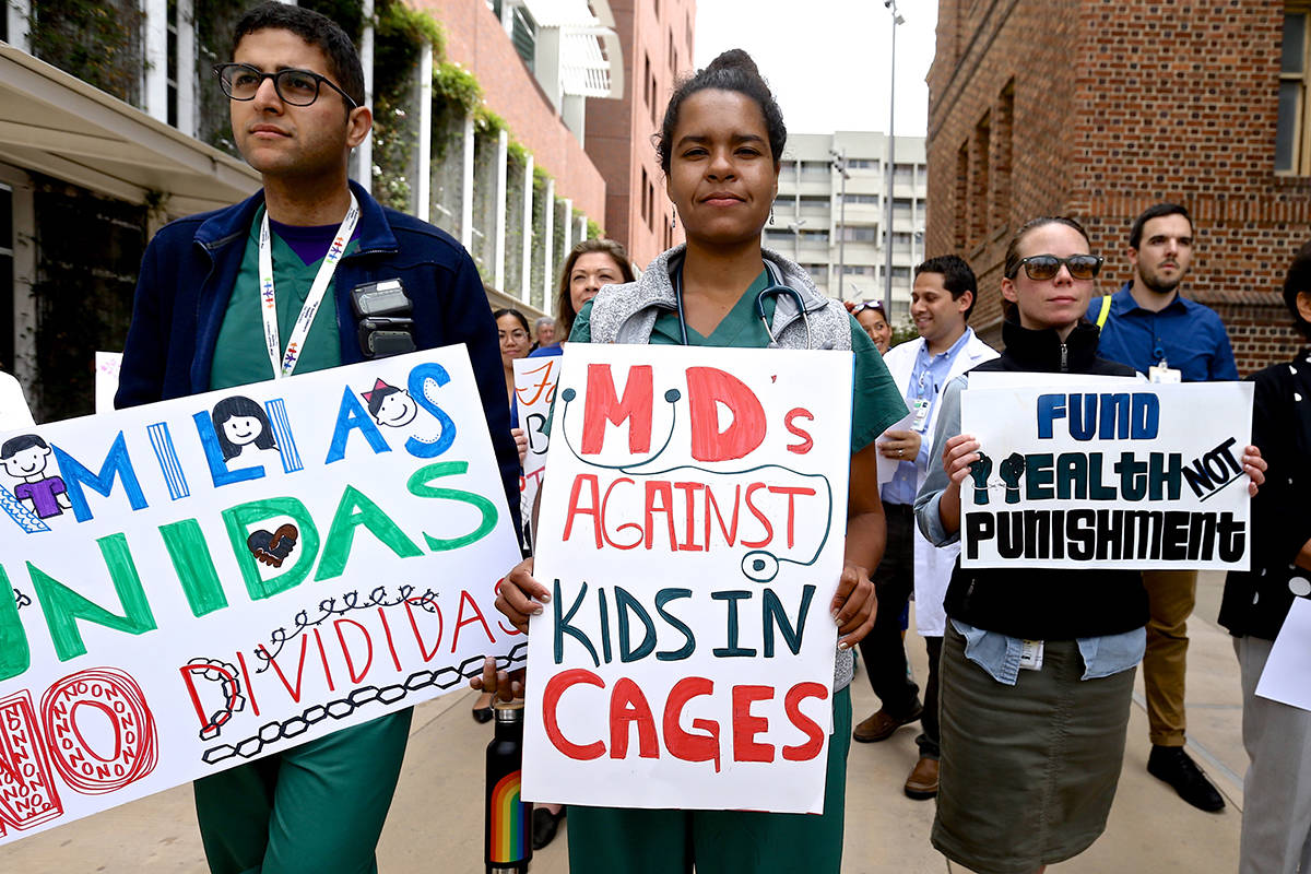 Resident doctors and health care workers demonstrate against Immigration and Customs Enforcement policies outside Zuckerberg San Francisco General Hospital. on Wednesday, Aug. 28, 2019.