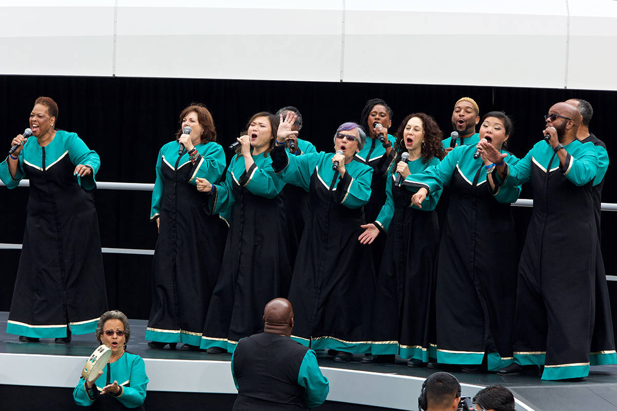 Members of the Oakland Interfaith Gospel Choir perform at the official opening for Chase Center arena on Tuesday, Sept. 3, 2019. (Kevin N. Hume/S.F. Examiner)