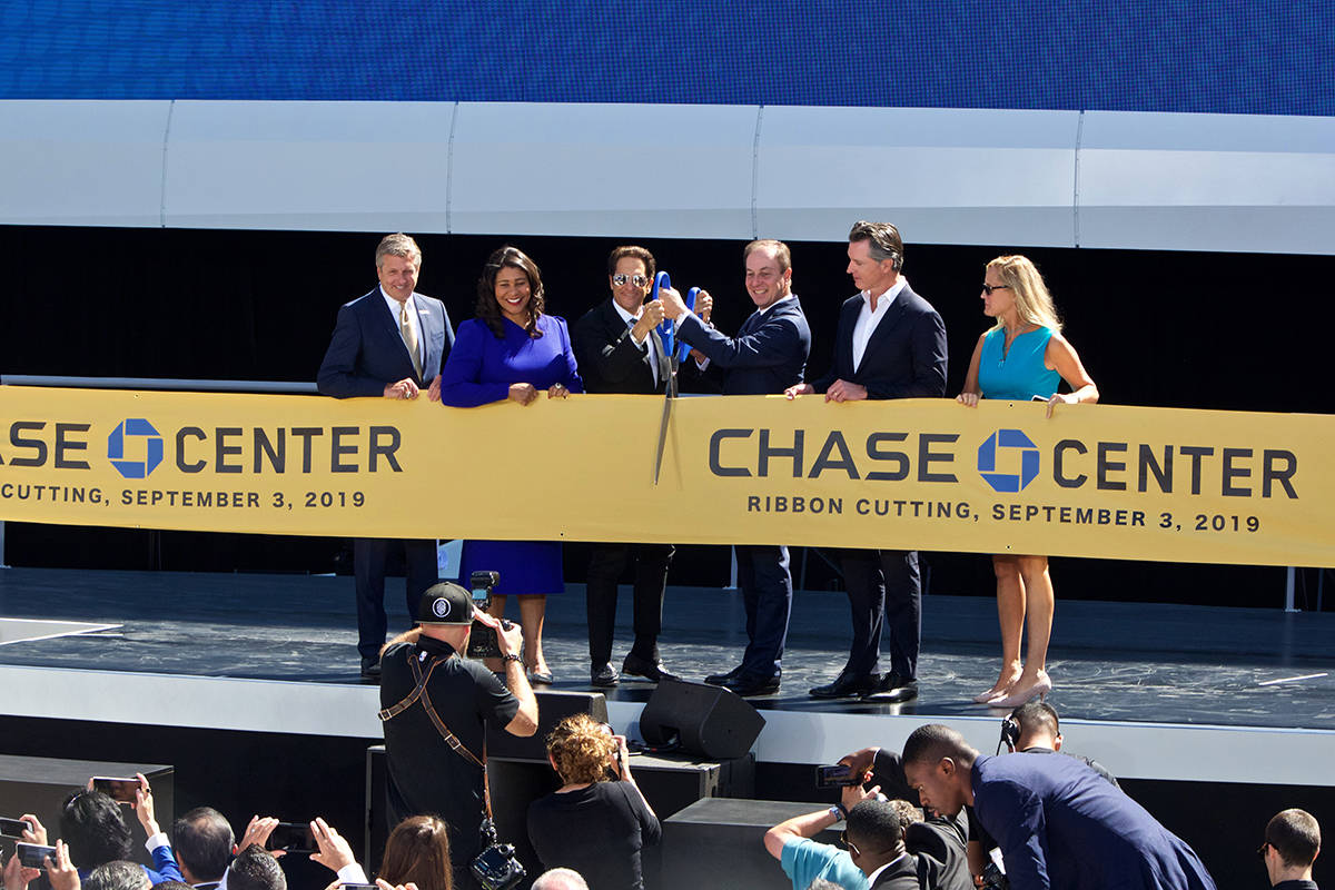 Golden State Warriors Co-Executive Chairmen Peter Guber and Joe Lacob ready to cut the ribbon at the official opening for Chase Center arena on Tuesday, Sept. 3, 2019. (Kevin N. Hume/S.F. Examiner)